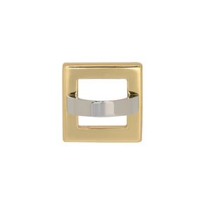 "Atlas Homewares - Tableau - 3"" Centers Square Base In French Gold With Squared Handle In Polished Chrome"