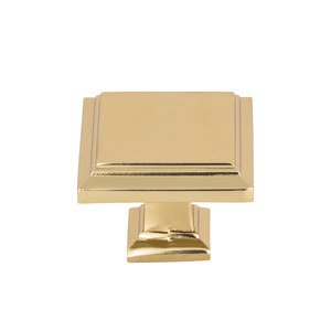 "Atlas Homewares - Cabinet Hardware - Sutton Place 1 1/2"" Square Knob In French Gold"