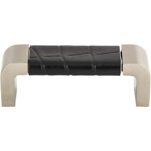 "Atlas Homewares - Paradigm - 3"" Centers Pull in Black Croc Embossed Leather and Brushed Nickel"