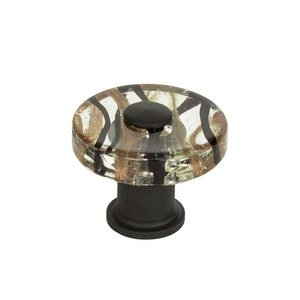"Atlas Homewares - Glass - 1 1/2"" Milky Way Round Knob in Aged Bronze"