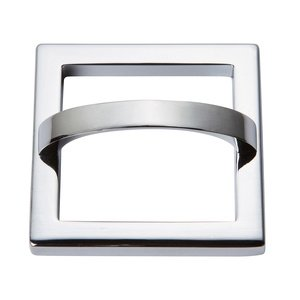 "Atlas Homewares - Tableau - 2 1/2"" Centers Square Base In Polished Chrome With Curved Handle In Polished Chrome"