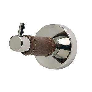 Atlas Homewares - Home Accents - Zanzibar Single Hook in Brown Leather and Polished Chrome