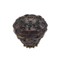 "Atlas Homewares - Hamptons Leather - Leather 1 1/2"" Expresso Knob in Oil Rubbed Bronze"