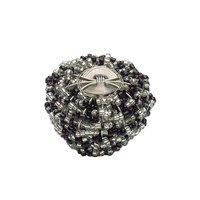 "Atlas Homewares - Bollywood - 2"" Beaded Knob in Black And Clear with Silver"