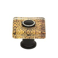 "Atlas Homewares - Glass - 1 1/2"" Cheetah Square Knob in Matte Black"